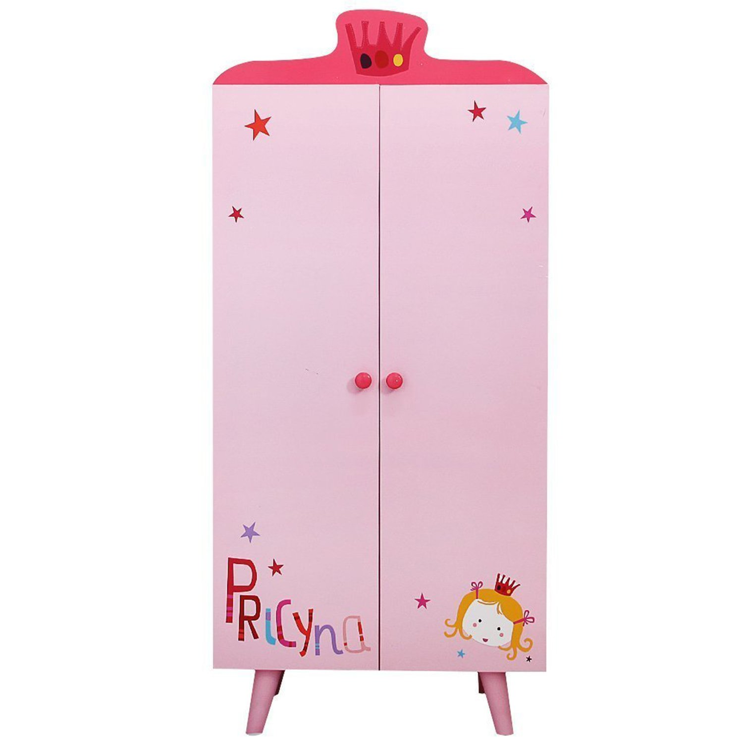 Labebe Children Room Furniture Lovely Wooden Armoire Closet/Wardrobe for Girls Toddler, with 5 Separated Shelves, Perfect for Hanging Dress-up Clothes, Ideal Kids' Birthday Gift - Princess Pink