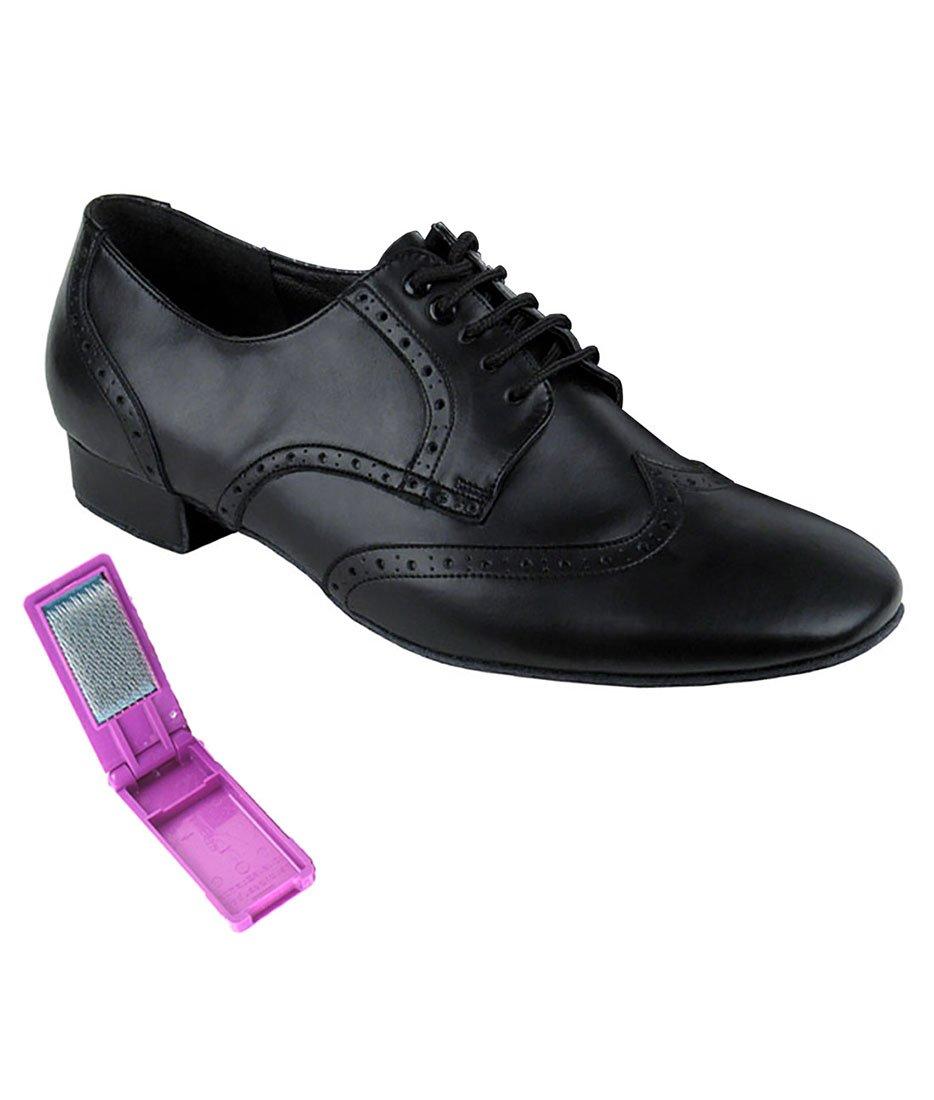 Very Fine Ballroom Latin Tango Salsa Dance Shoes for Men PP301 1 inch Heel + Foldable Brush Bundle B01MV6FGHO 8 D(M) US|Black Leather