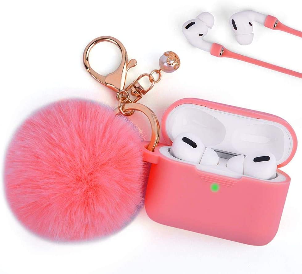 Bemz [Furry Ball] Soft TPU Cover Case for Apple AirPods Pro with Pearl Pom Pom Keychain, Safe Strap and Atom Cloth - Coral Red
