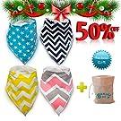 Baby Bandana Drool Dribble Bibs Burp Cloths for Drooling 4Pack Cotton Gift Set
