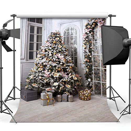 SJOLOON 8x8ft Christmas Tree and Gifts Vinyl Photography Backdrops Photo Background Studio Prop 10842