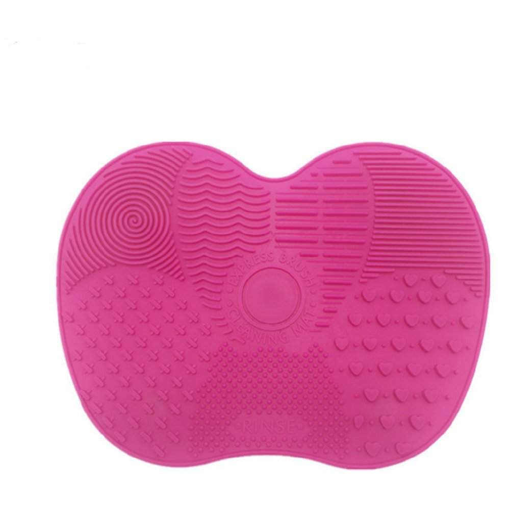 Panlom® Makeup Brush Cleaning Mat - Silicone Make Up Brushes Cleaner Pad with Suction Cups (Rose Red) 42/CH