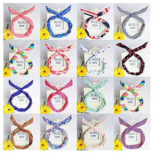 Lovef Pretty Cute 10pcs /lot Different Colors and Design Rabbit Bunny Ear Girl Hair Headband Scarf DIY Wire Band Bow Head Wrap Assorted Colors