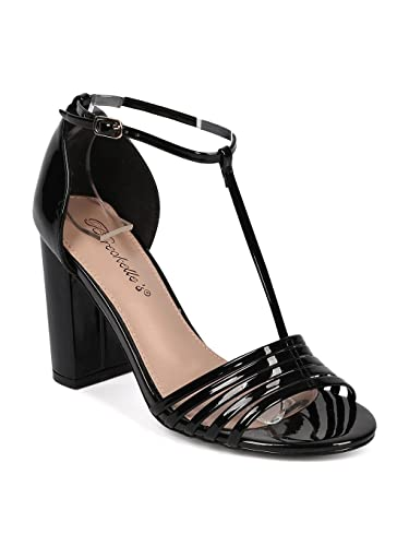 159a2c47685 Amazon.com  Breckelles Aniston-17 Black Patent PU Open Toe T-Strap Block  Heel Retro Sandal (8.5)  Shoes