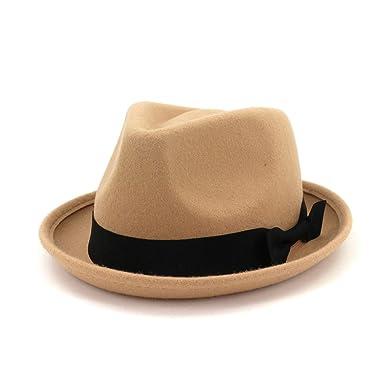 db97d31e Amazon.com: British Bowknot Wool Felt Hats Khaki Red Jazz Vintage Fedora  Church Dredss Hat Elegant Classic Cap Women Men: Clothing