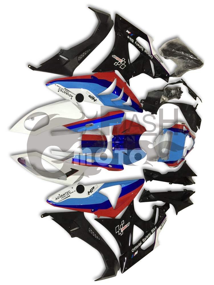 FlashMoto bmw S1000RR 2012 2013 2014用フェアリング 塗装済 オートバイ用射出成型ABS樹脂ボディワークのフェアリングキットセット ブラック, ブルー   B07L887DKR