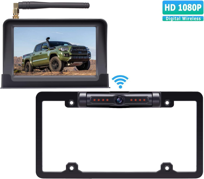 18.ZSMJ Digital Wireless Backup Camera Kit, HD 1080P Reverse Camera Kit with Super Night Vision, IP69 Waterproof Rear View Camera 5'' TFT Monitor for Trucks/RV/Vans/Trailers Over 900ft Transmission