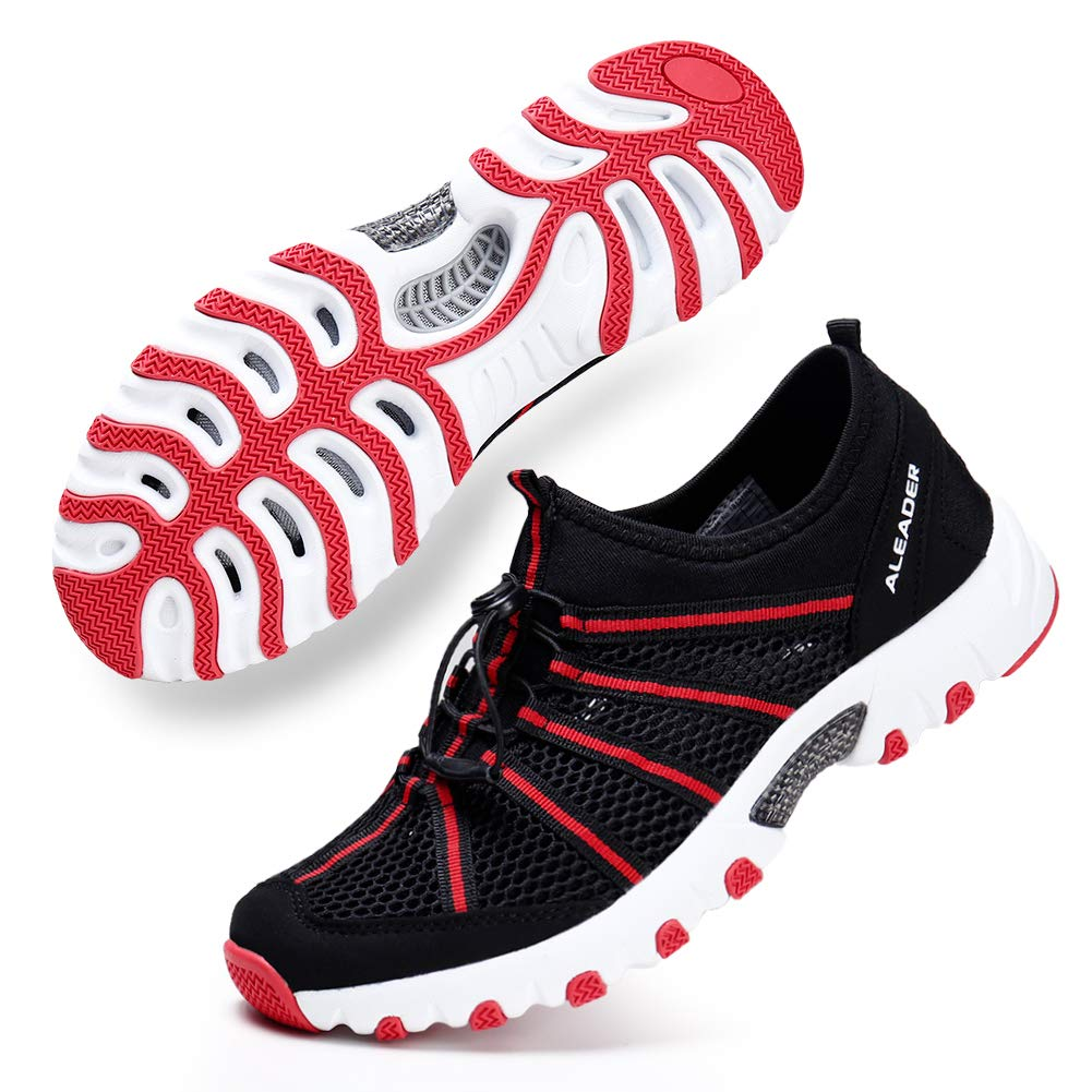 ALEADER Womens Summer Hiking Shoes Comfortable Wet Walking Sneakers for Wading, Boating Black/Red 10 B(M) US by ALEADER