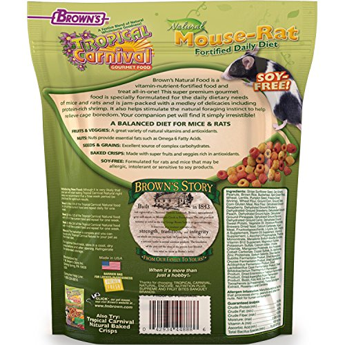 Tropical Carnival F.M. Brown's Natural Pet Mouse and Rat Food, 2-lb Bag - Vitamin-Nutrient Fortified Daily Diet, Soy-Free High Protein Blend with Shrimp, NO Artificial Colors or Flavors by Tropical Carnival (Image #1)