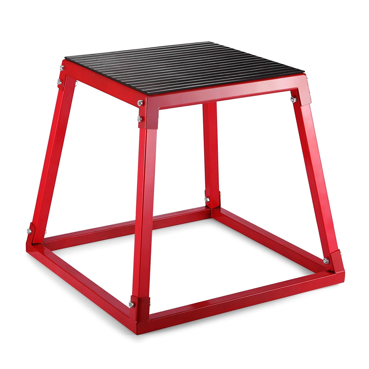 popsport Plyometric Platform Box 12/18/24/30 Inch Fitness Exercise Jump Box Step Plyometric Box Jump for Exercise Fit Training (red, 24inch)