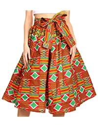 Sakkas AMA Women's Vintage Circle African Ankara Print Midi Skirt with Pockets