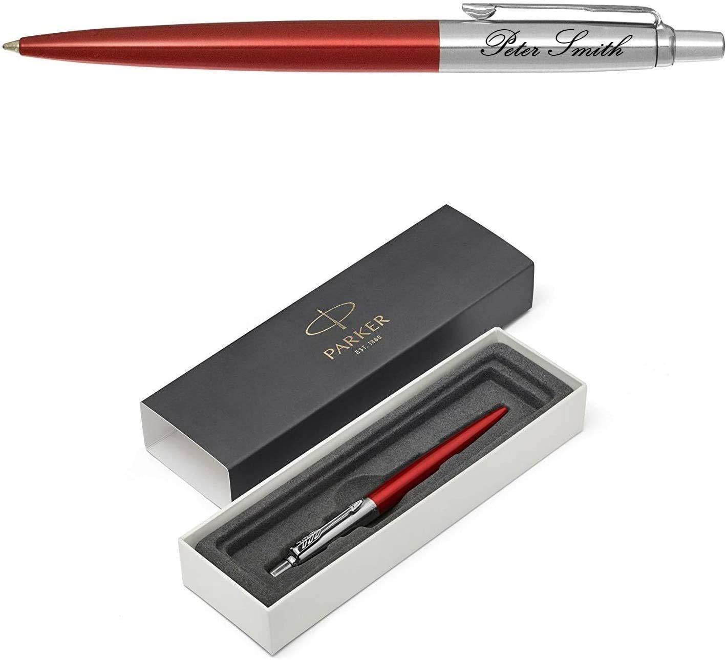 Personalised Engraved Parker Jotter Black Ballpoint Pen Gift Boxed Blue Ink