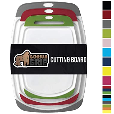GORILLA GRIP Original Reversible Cutting Board, 3-Piece, BPA Free, Dishwasher Safe, Juice Grooves, Larger Thicker Boards, Easy Grip Handle, Non-Porous, Extra Large, Set of 3, Gray, Red, Green