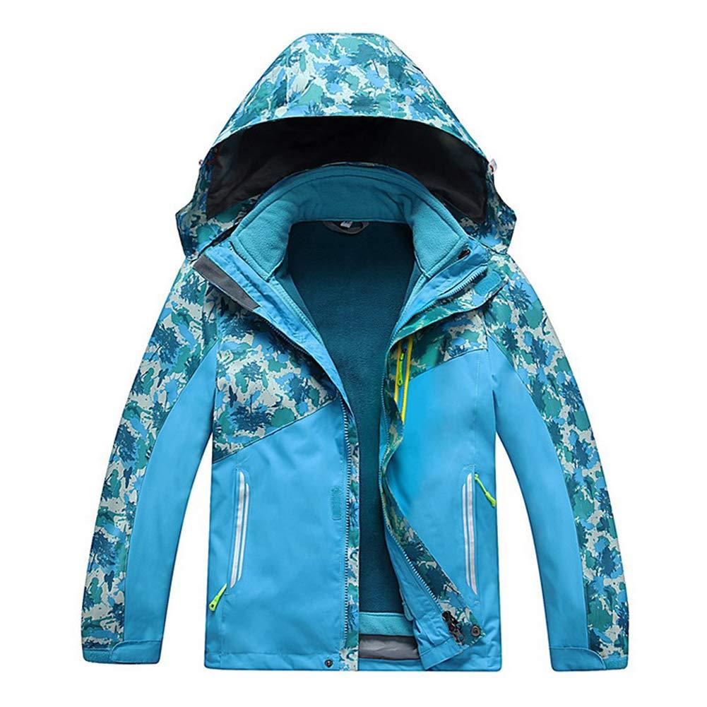 Merryway Valentina Boys Girls Outdoor Winter Two-Piece 3-in-1 Coat Children Thicken Velvet Detachable Warm Quilted Jacket