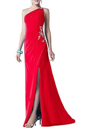 BessWedding Womens High Slit Satin Prom Dresses Long 2018 One Shoulder Evening Gowns Size 2 Red