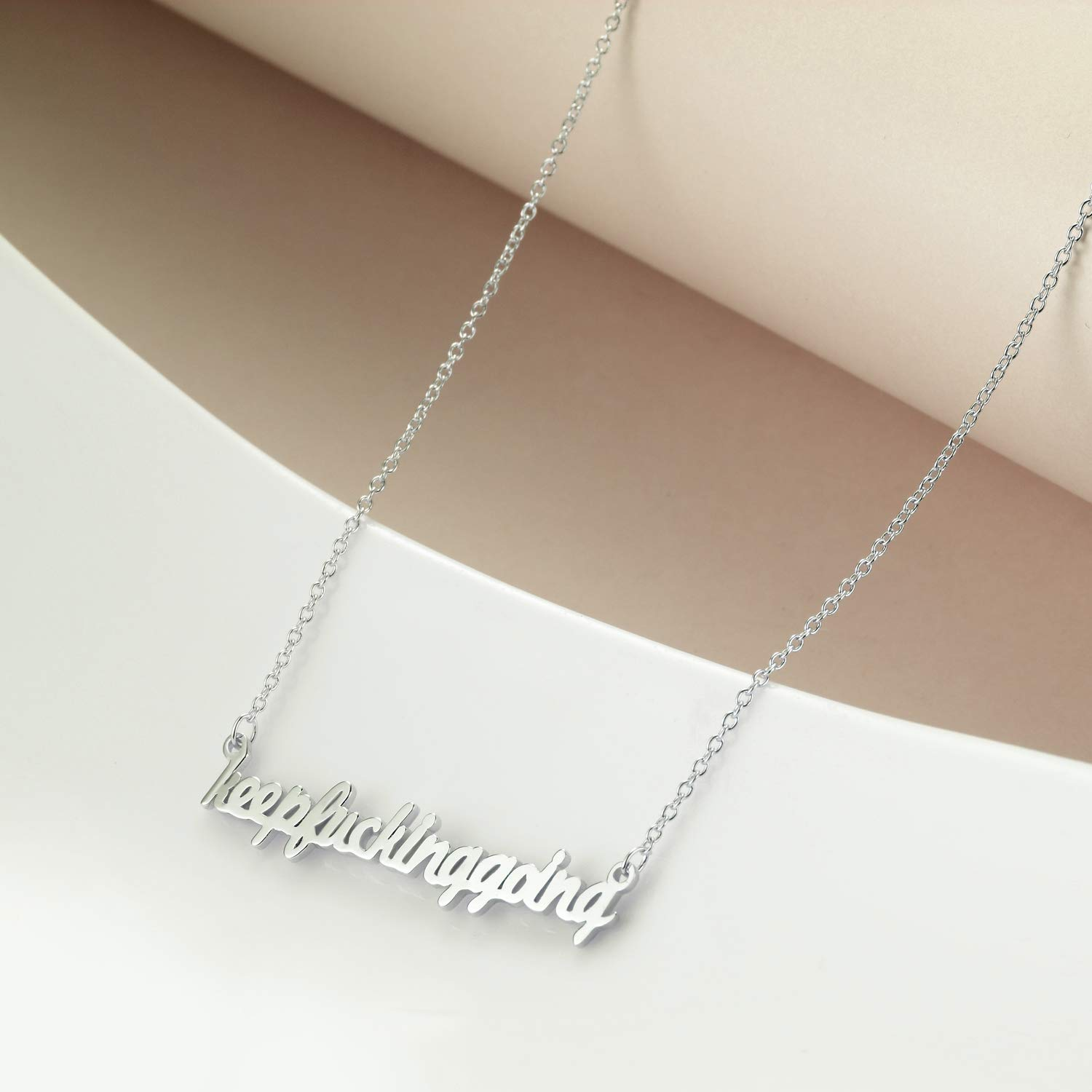 WINNICACA Inspiring Personalised Necklace Sterling Silver Brave Strong and Keep Going Pendant Jewelry Gifts for Women Teens Birthday