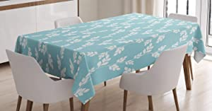 Ambesonne Rustic Tablecloth, Rural Meadow Field Yard Wildflowers Farmhouse Style Cottage Countryside Garden, Rectangular Table Cover for Dining Room Kitchen Decor, 60