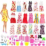 #6: Mylass 75 Pcs Clothes Set EU CE-EN71 Certified Include 15 Pack Clothes Party Grown Outfits and 60 Pcs Different Doll Accessories for 11.5 inch Barbie Dolls