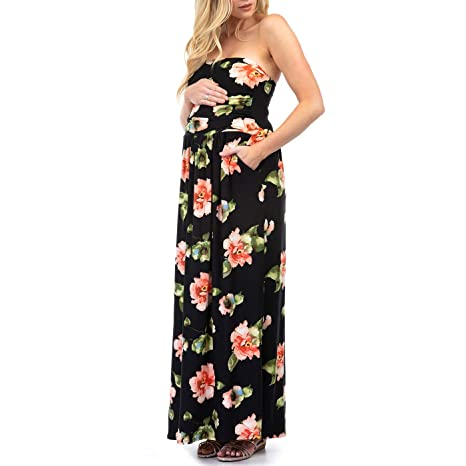 27434817a3 Women s Strapless Ruched Maxi Tube Maternity Dress with Pockets by Rags and  Couture - Made in USA at Amazon Women s Clothing store