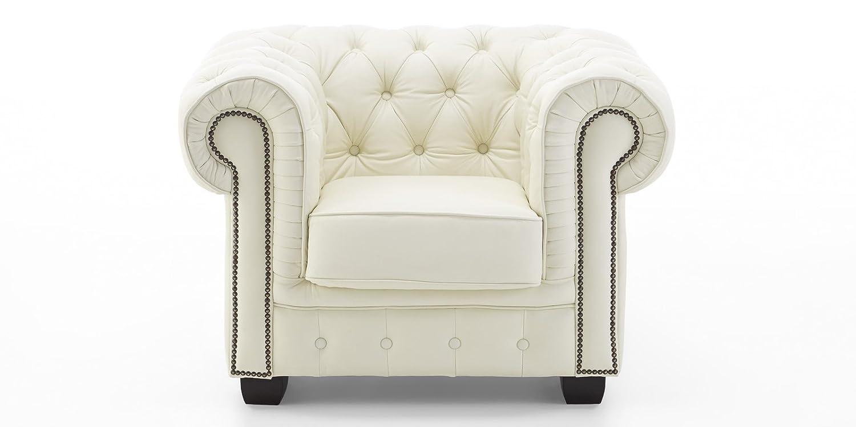 Chesterfield Sessel Echtleder Sofa creme Knopfheftung 1-Sitzer Vollleder