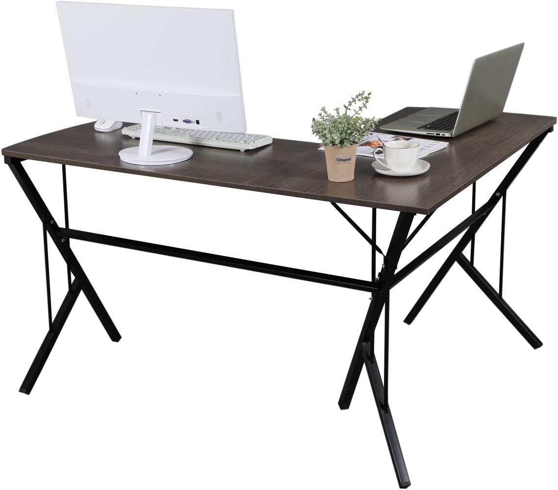 GreenForest Corner Desk L Shaped Gaming Computer Desk Curved with Modern Leg Design PC Laptop Home Office Workstation, Walnut