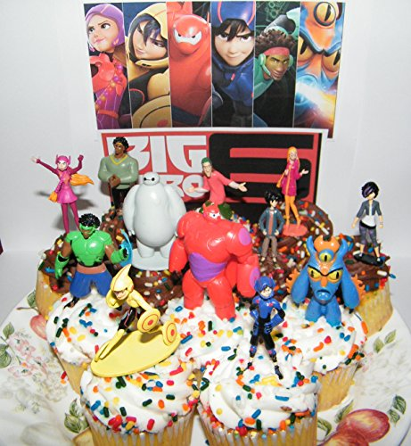 Disney Big Hero 6 Figure Cake Toppers / Cupcake Party Favor Decorations Large Set of 12 with Hiro, Baymax, Wasabi, Fred and Special Temporary Tattoo -