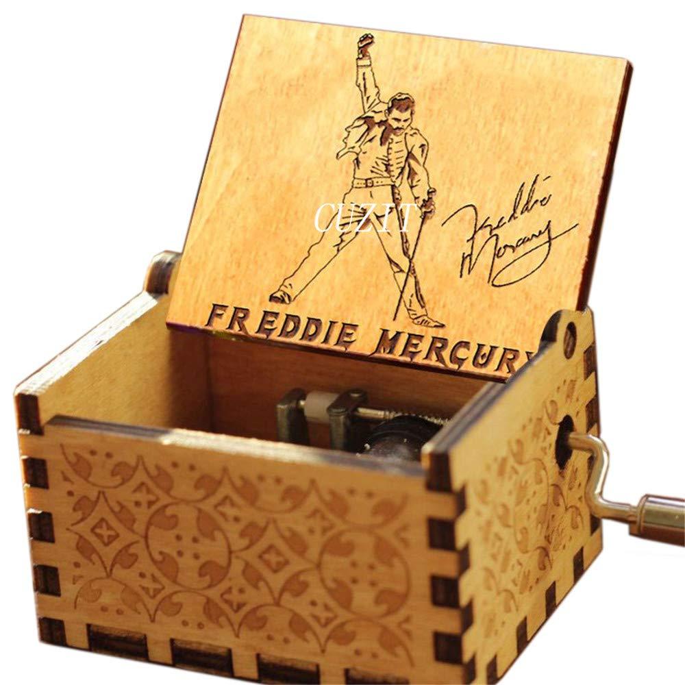 Cuzit Queen Bo/îte /à Musique en Bois sculpt/é /à la Main pour Fans de Freddie Mercury