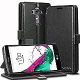 Vena® LG G4 Wallet Case [vFolio] Vintage Genuine Leather Flip Wallet Stand Case Cover [Card Pockets] for LG G4 (Black/Red)