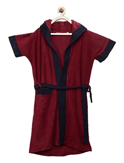 Sanddune Boy's Half Sleeves Knee Length Pocket Terry Cotton Hood Bathrobe Gown with Waist Belt (Red, Navy Blue, 12 to 13 Years)