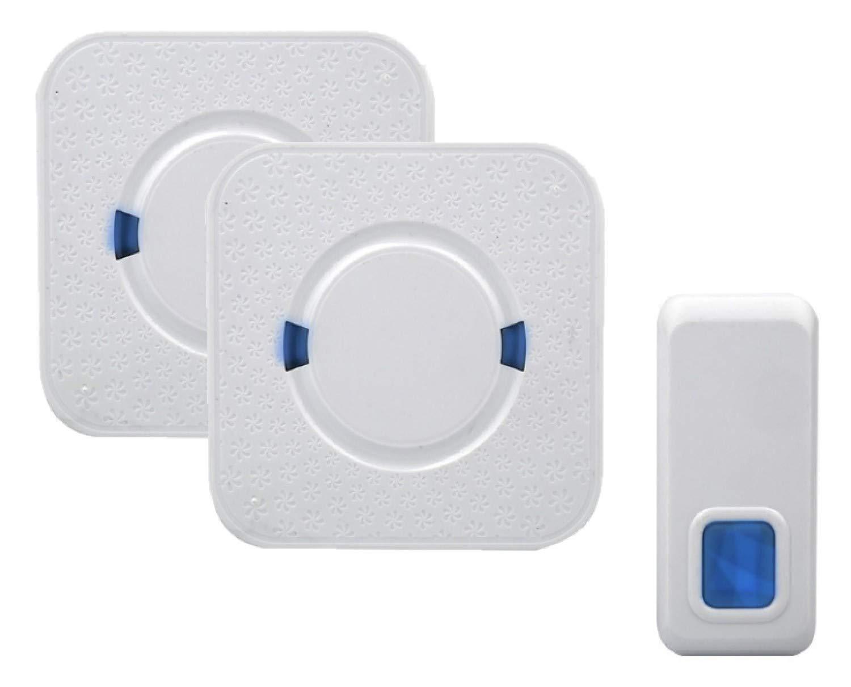 55 Suonerie 1 Trasmettitore e 2 Ricevitore 300M Operativo a Grande Distanza Flybiz Campanello Senza Fili Indicatori LED 5 Volumi Selezionabili Portatile Wireless Doorbell