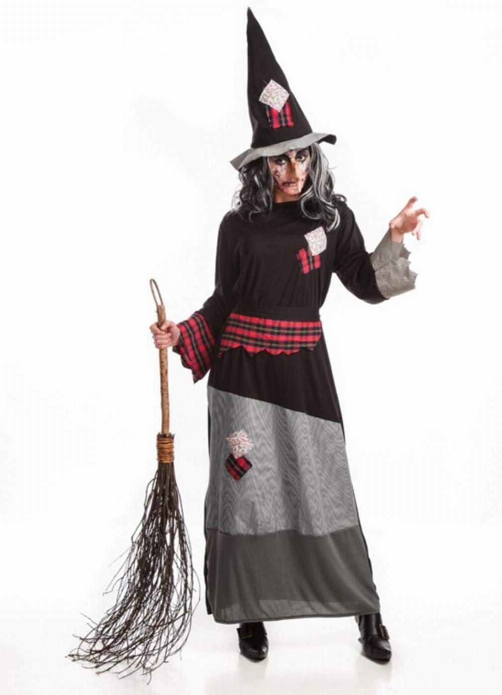 Disfraz de Bruja con parches para mujer: Amazon.es: Juguetes y juegos