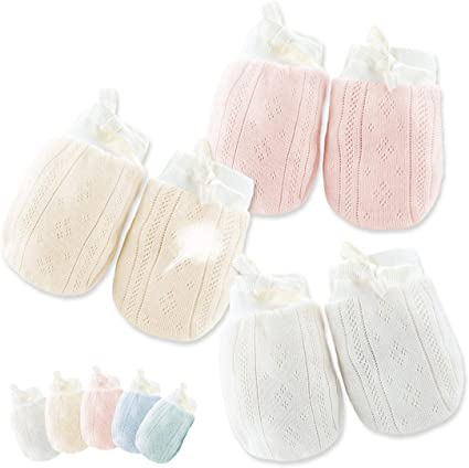 Mix Color 4 Pairs Cotton Newborn Baby//infant No Scratch Mittens Gloves