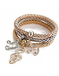 Stretch Bracelets I's 3PCS Gold/Silver/Rose Gold Corn Chain Crystal Charms Multilayer Bracelets for Women