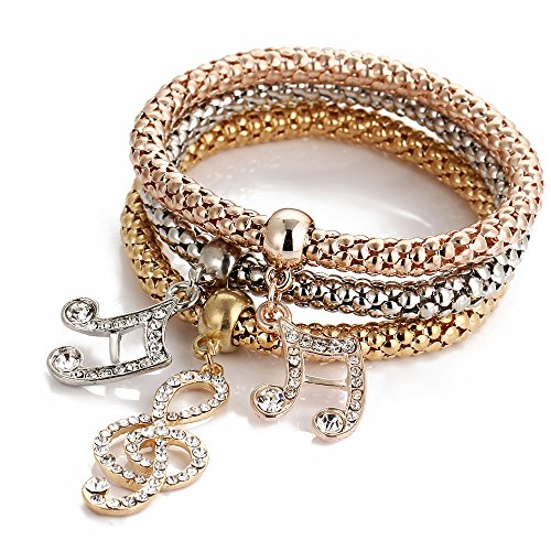 ISAACSONG.DESIGN I's 3 Bracelets Multilayer Gold/Silver/Rose Gold Corn Chain Charms with Crystal Stretch Bracelet Set for Women (Music Note)