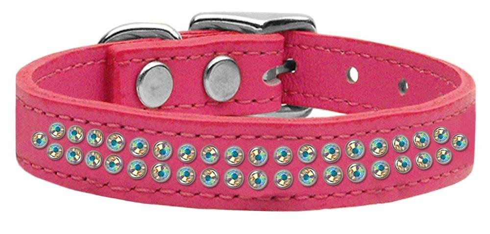 16\ Mirage Pet Products Two Row Aurora Borealis Jeweled Leather Pink Dog Collar, 16