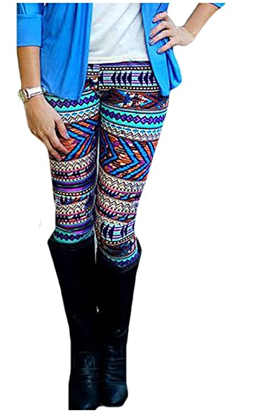 Coolred Womens Stretch Multicolored Tribal Aztec Print Pants Leggings As Picture S