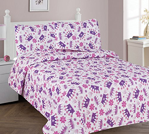 rls Princess Crown Floral Multicolor Purple White Pink 3 Piece Full Size Coverlet Bedspread Quilt for Kids Teens / Girls # Crown (Full) ()