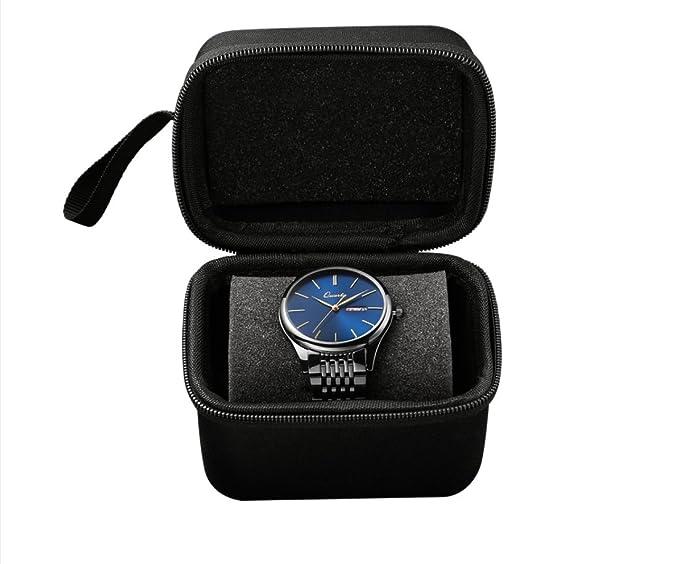 Caja de relojes cuero negro, Estuche para relojes, Estuche ...
