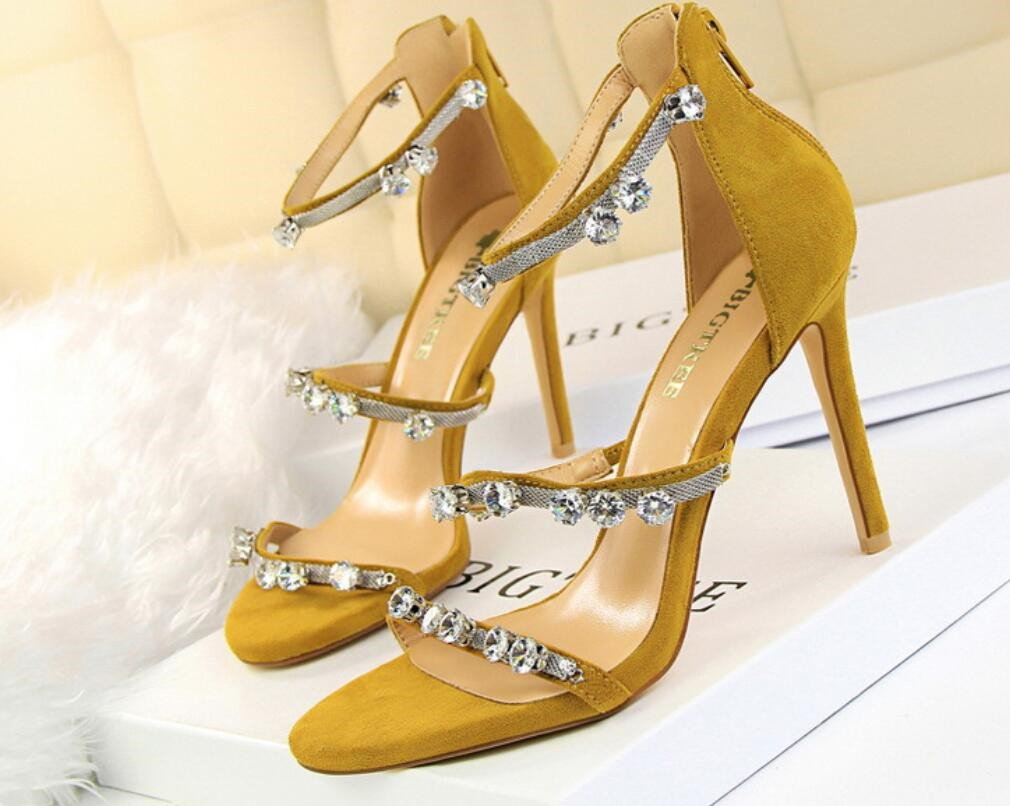 LUCKY ROAD Strass Stiletto Heel High Heels Sandalen Wildleder Plattform Frauen Mauml;dchen Braut Hochzeit Nachtclub Bar Moderne Feminine Schuhe  EU39|Yellow