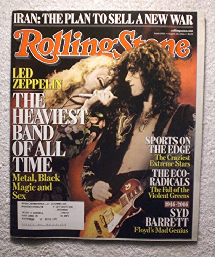 Robert Plant & Jimmy Page - Led Zeppelin - The Heaviest Band of All Time - Rolling Stone Magazine - #1006 - August 10, 2006 - Iran: The Plan to Sell a New War, Extreme Sports Stars, Death of Syd Barrett articles