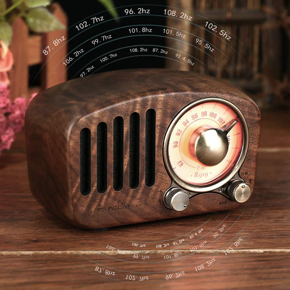 Rouge AUX Totento Radio R/étro FM Portable Vintage Rechargeable avec Bluetooth 4.2 St/ér/éo Enceinte Soutien Lecteur MP3 Via Carte TF Grande Cadran de Tuner