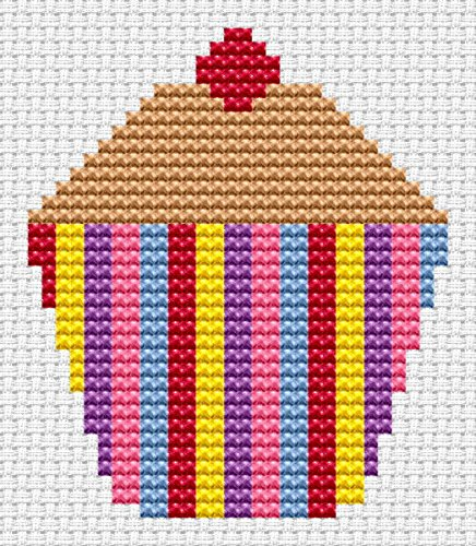 Sew Simple Cupcake Cross Stitch Kit by Fat Cat Cross Stitch
