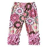 BluNight Collection Little Girl Kids Doughnut Print Outfits Capris Ruffles Spring Cotton Pants Pink 8 XXXL (500652)