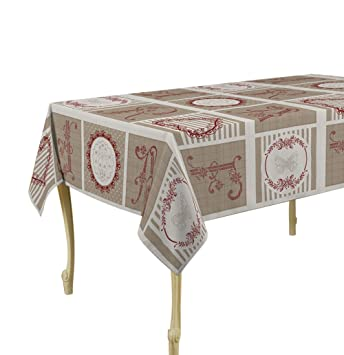 Elegant 60 X 120 Inch Rectangular Tablecloth Beige Versailles, Stain Resistant,  Washable, Liquid