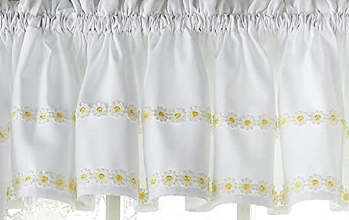 Ben Jonah Simple Elegance by Ben Jonah Faux Linen Daisy Floral Applique Kitchen Curtain Tailored Valance 56 W x 12 L , Yellow