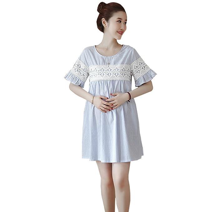 BOZEVON Vestido Lactancia de Mujer Embarazo - Moda Premamá Maternidad de Manga Corta Cuello Redondo Verano