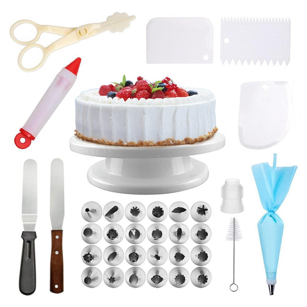 Cake Turntable Rotating Cake Stand and Cake Decorating Set | Includes: ALL Cake Decorating Supplies, Cake Turntable 12-inches | Food Grade Stainless Steel | Perfect for Beginners and Experts EverydayGifts