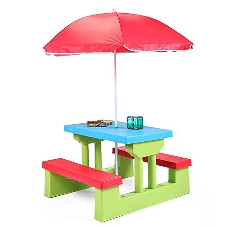 Amazon jaxpety kids picnic table with umbrella plastic folding jaxpety kids picnic table with umbrella plastic folding outdoor children set play bench watchthetrailerfo