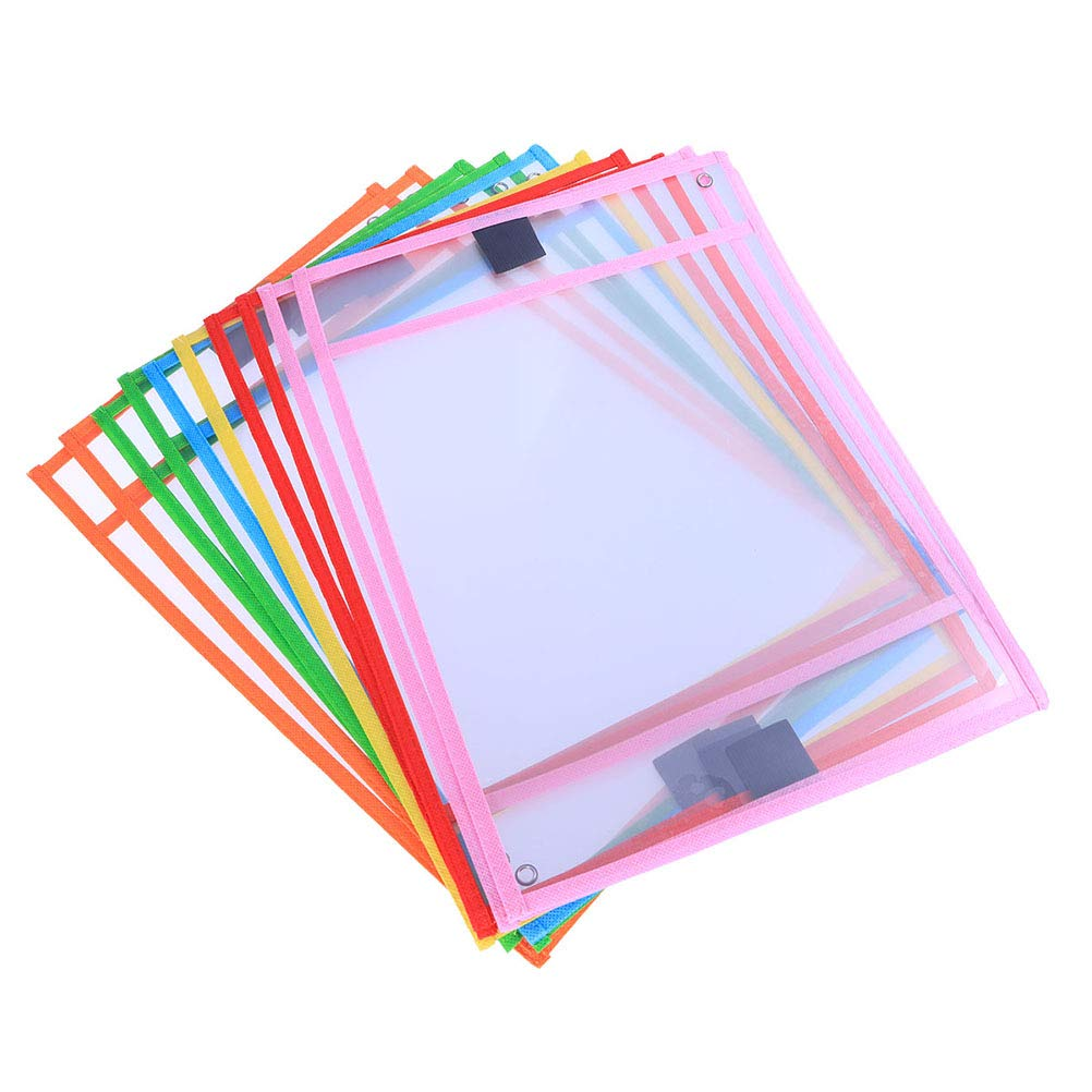 Toyvian 30pcs Reusable Dry Erase Pockets Dry Erase Sleeves Protect Clear Pocket with Colorful Edge for Teacher Classroom Decorations Office Home (Random Color)
