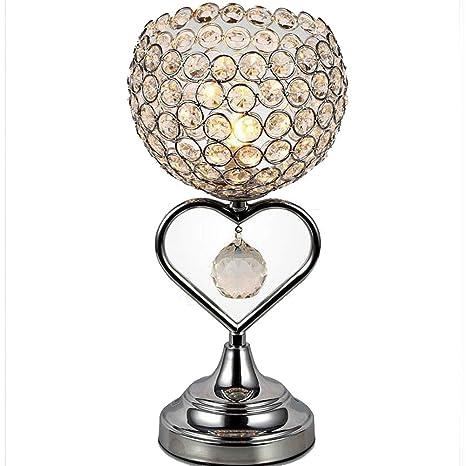 TRADE® Lámpara de mesa de cristal con acabado cromado Base de metal luz de sala decorativa con K9 Lámpara de escritorio en forma de corazón de cristal ...